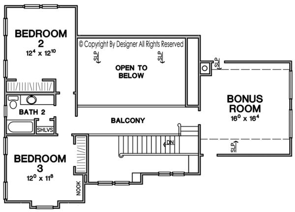 Craftsman Floor Plan - Upper Floor Plan Plan #472-378