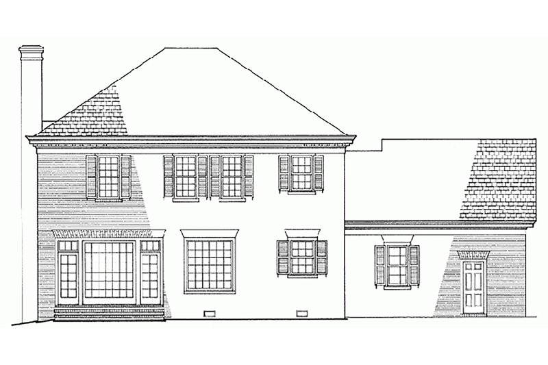 Southern Exterior - Rear Elevation Plan #137-147 - Houseplans.com
