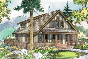 Cottage Exterior - Front Elevation Plan #124-473