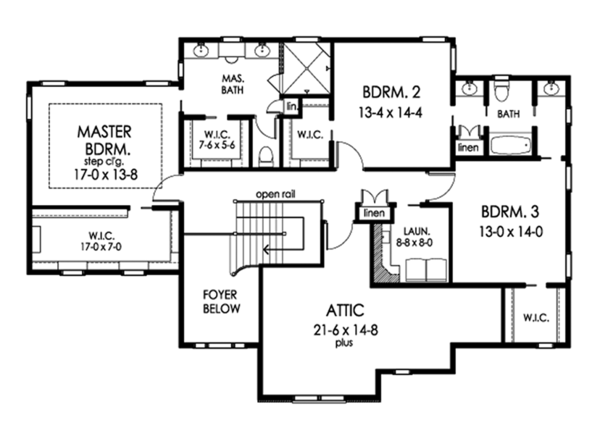 Traditional Floor Plan - Upper Floor Plan Plan #1010-205