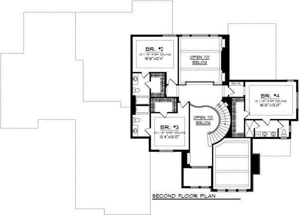 European Floor Plan - Upper Floor Plan Plan #70-1094