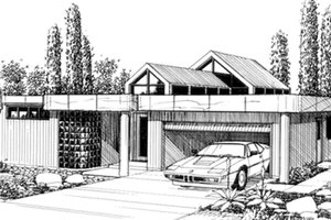 Modern Exterior - Front Elevation Plan #509-13
