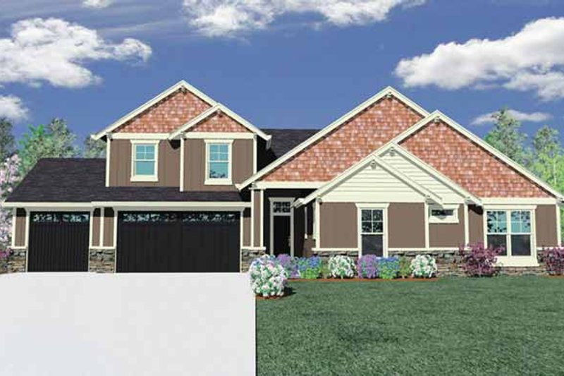 Craftsman Exterior - Front Elevation Plan #509-296
