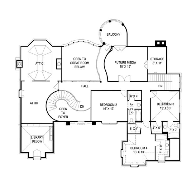 European Floor Plan - Upper Floor Plan Plan #119-419