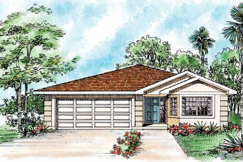 House Blueprint - Mediterranean Exterior - Front Elevation Plan #72-1042