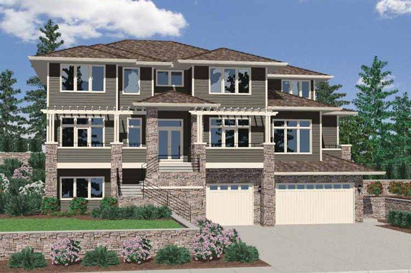 Prairie Exterior - Front Elevation Plan #509-421