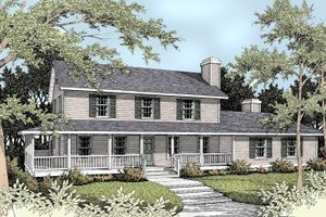 Country Exterior - Front Elevation Plan #93-210