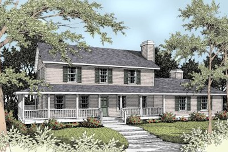 Country Style House Plan - 5 Beds 3.5 Baths 2561 Sq/Ft Plan #93-210 Exterior - Front Elevation