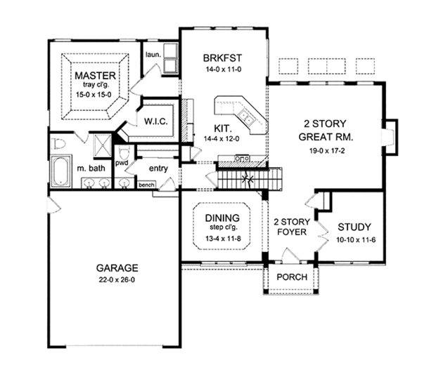 Colonial Floor Plan - Main Floor Plan Plan #1010-16