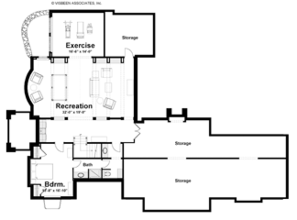 Craftsman Floor Plan - Lower Floor Plan Plan #928-235