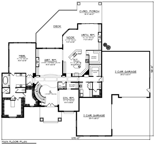 Traditional Floor Plan - Main Floor Plan Plan #70-1297