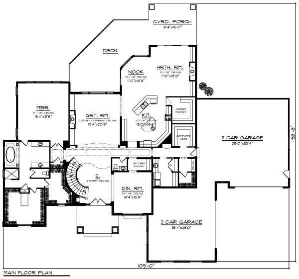Dream House Plan - Traditional Floor Plan - Main Floor Plan #70-1297