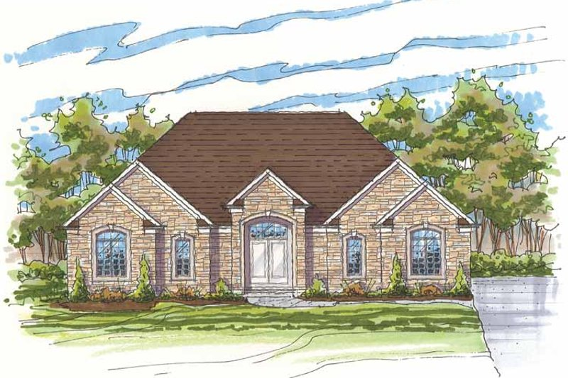 Traditional Exterior - Front Elevation Plan #435-19 - Houseplans.com