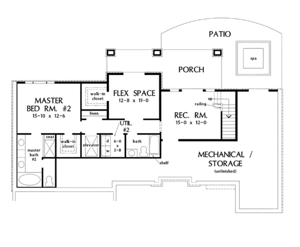 House Plan Design - European Floor Plan - Lower Floor Plan #929-921
