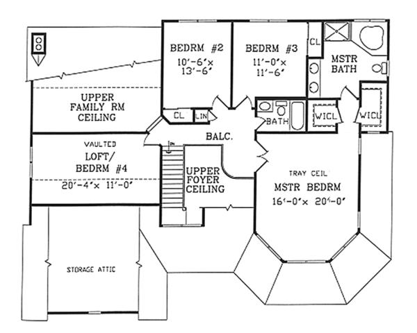 Country Floor Plan - Upper Floor Plan Plan #314-268