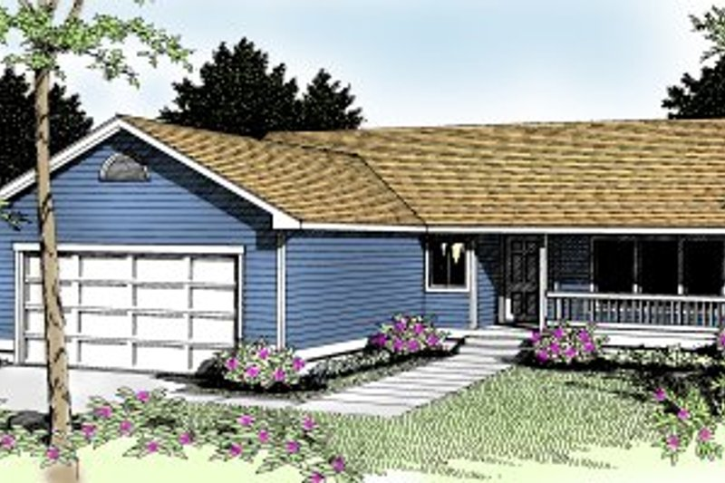Ranch Exterior - Front Elevation Plan #91-104 - Houseplans.com