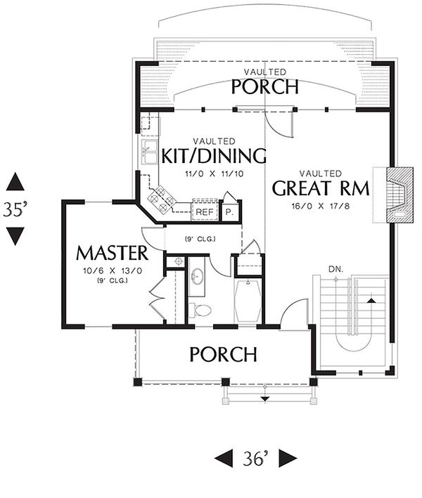 Main Level floor plan - 1400 square foot cottage