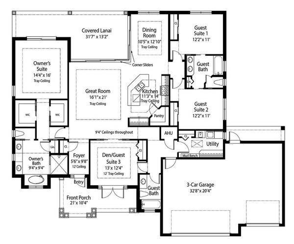 Beach Floor Plan - Main Floor Plan Plan #938-83