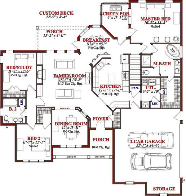 Traditional Floor Plan - Main Floor Plan Plan #63-193