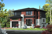 Contemporary Style House Plan - 3 Beds 2 Baths 2163 Sq/Ft Plan #25-4314 Exterior - Front Elevation