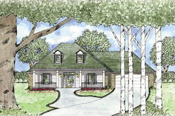 Southern Exterior - Front Elevation Plan #36-155