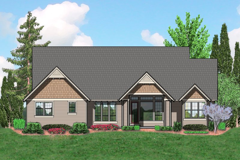 Craftsman Exterior - Rear Elevation Plan #48-540 - Houseplans.com