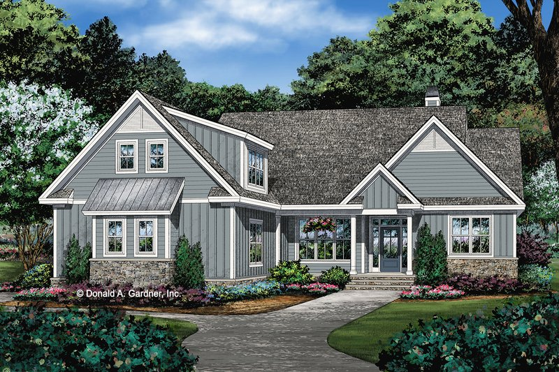 Ranch Exterior - Front Elevation Plan #929-1100