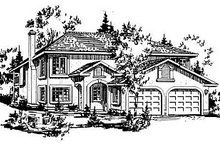 European Exterior - Front Elevation Plan #18-213