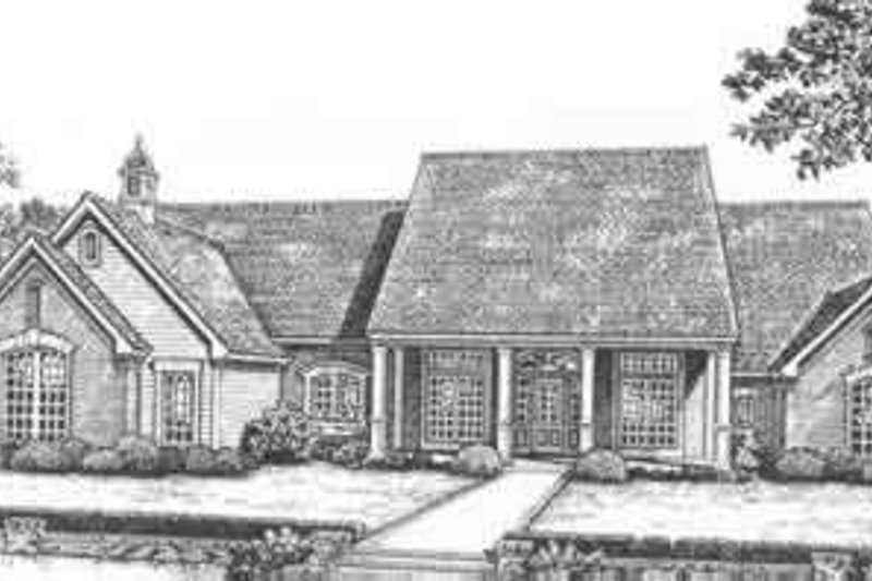 Southern Style House Plan - 4 Beds 3.5 Baths 3931 Sq/Ft Plan #310-508 Exterior - Front Elevation