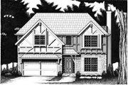 Tudor Style House Plan - 4 Beds 2.5 Baths 1818 Sq/Ft Plan #6-205 Exterior - Front Elevation