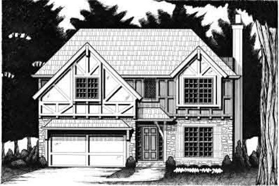 Tudor Exterior - Front Elevation Plan #6-205