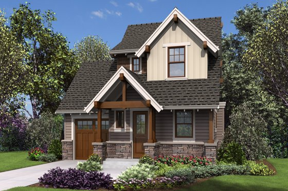 Cottage Exterior - Front Elevation Plan #48-1010