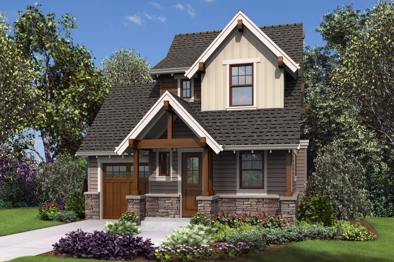 Cottage Style House Plan - 2 Beds 1.5 Baths 803 Sq/Ft Plan #48-1010 Exterior - Front Elevation