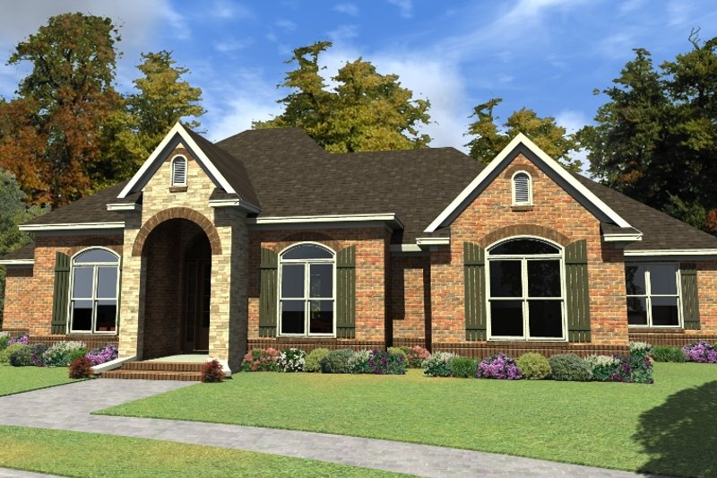 Traditional Style House Plan - 3 Beds 2 Baths 2581 Sq/Ft Plan #63-403 Exterior - Front Elevation