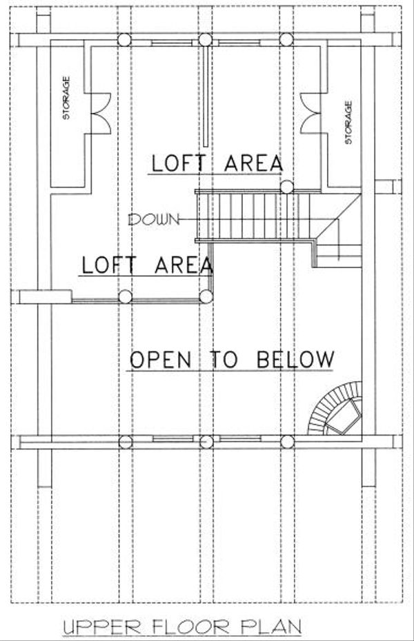 Log Style House Plan - 1 Beds 1 Baths 1040 Sq/Ft Plan #117-500 Floor Plan - Upper Floor Plan
