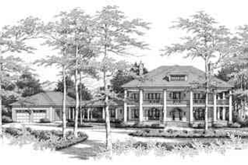 Southern Style House Plan - 4 Beds 4.5 Baths 5051 Sq/Ft Plan #71-125 Exterior - Front Elevation