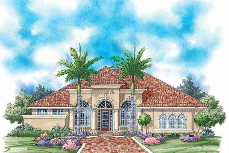 Mediterranean Style House Plan - 3 Beds 2.5 Baths 2823 Sq/Ft Plan #930-344 Exterior - Front Elevation