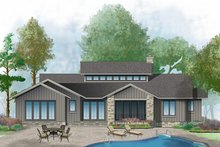 Prairie Exterior - Rear Elevation Plan #929-1001