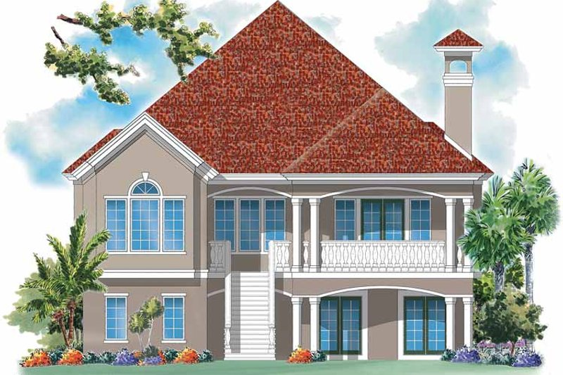 Mediterranean Exterior - Rear Elevation Plan #930-158 - Houseplans.com