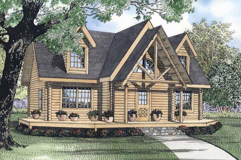 Log Exterior - Front Elevation Plan #17-3050