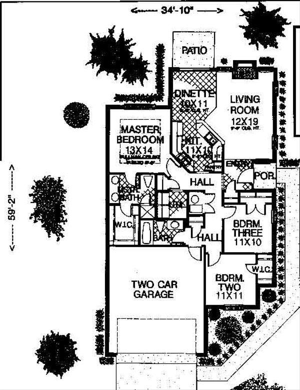 Home Plan Design - Colonial Floor Plan - Main Floor Plan #310-747
