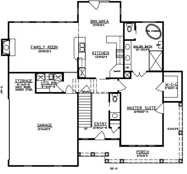 Dream House Plan - Traditional Floor Plan - Main Floor Plan #405-338