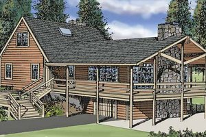 Log Exterior - Front Elevation Plan #314-211