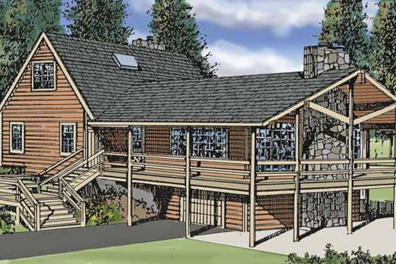 Log Exterior - Front Elevation Plan #314-211 - Houseplans.com