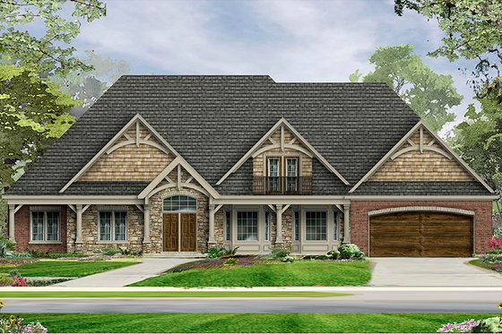 Craftsman Exterior - Front Elevation Plan #1057-6