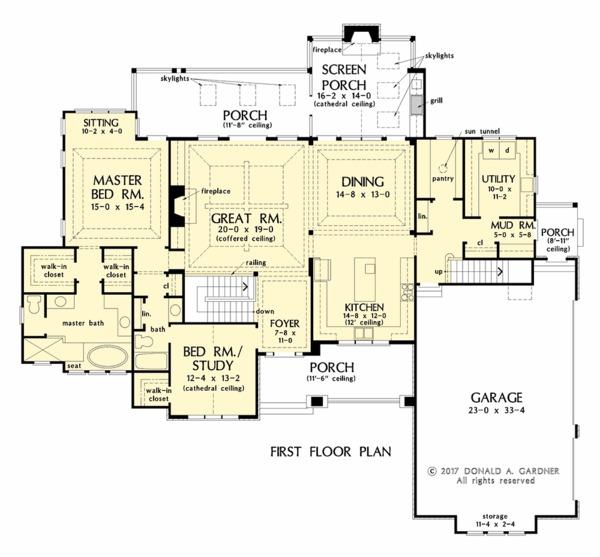 European Floor Plan - Main Floor Plan #929-1037