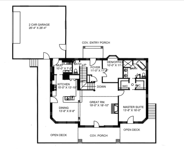 Craftsman Floor Plan - Main Floor Plan Plan #117-841