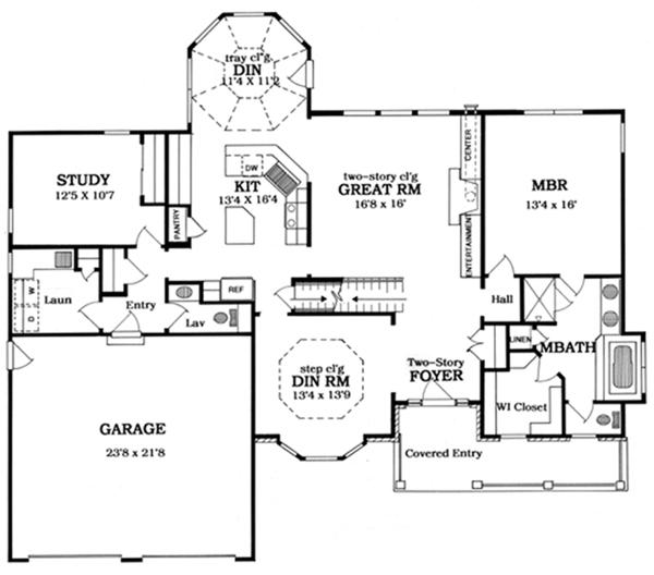 House Plan Design - Country Floor Plan - Main Floor Plan #316-186