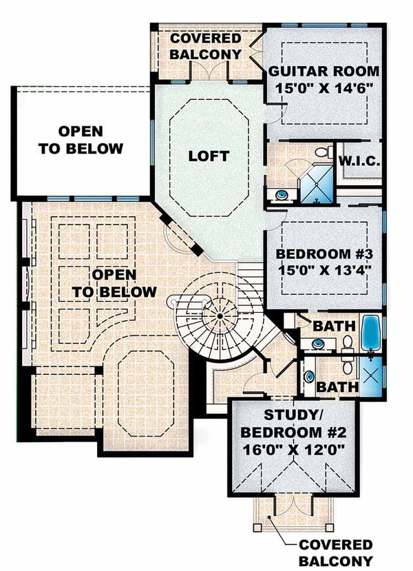 Mediterranean Floor Plan - Upper Floor Plan Plan #1017-16