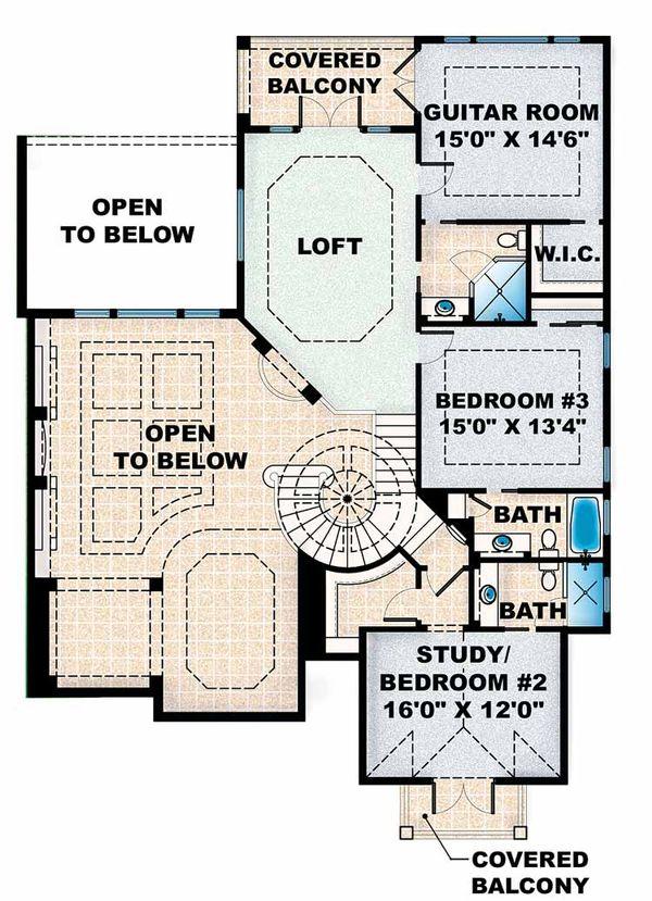 Dream House Plan - Mediterranean Floor Plan - Upper Floor Plan #1017-16